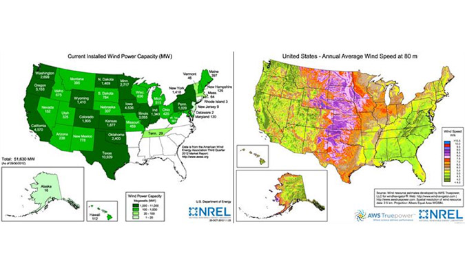 The Best Locations For Wind Energy In The United States UAT Group - Wind farms in the us map